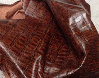 EMB116 Leather Cow Hide Cowhide Craft Fabric Reddish Brown Embossed Turtle 25 sf FREE SHIPPING