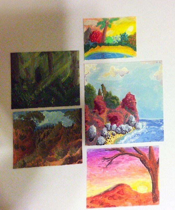 Set of 5 old landscape artworks