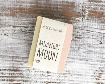 Midnight Moon Soap, Organic Soap, Palm Free Soap, All Natural, Scented, Vegan, Handmade, Cold Process Soap, Wildflower Seed Paper