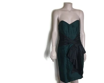 Vintage silk dress / green black silk cocktail  dress // strapless dress with bow // 80s monsoon dress /vinatge evening dress // size 10 12