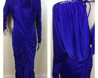 SALE Vintage  Disco Dress, Buffalo Disco,Cobalt Blue dress S  Fishtail Disco Dress  bodycon mermaid 80s