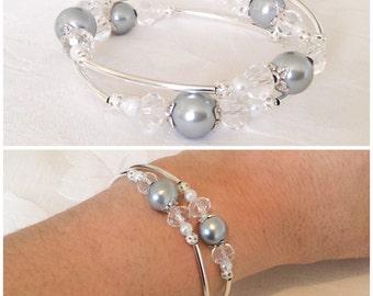 Grey Bracelet, Gray Pearl Bracelet, Grey Jewelry, Gray Pearl Jewelry, Bridesmaid Gift, Wedding
