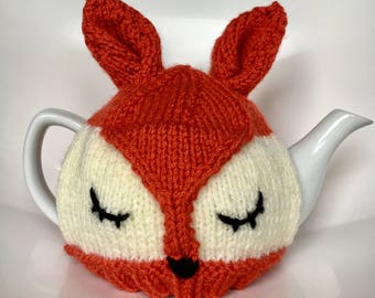 Fox hand knitted tea cosy. Tea lovers teatime treat.