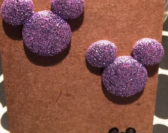 Simply the cutest glittered Mickey Mouse earrings on nickel free posts.