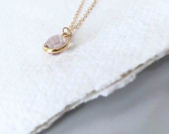 Delicate pink amethyst pendant necklace on gold chain with gift box
