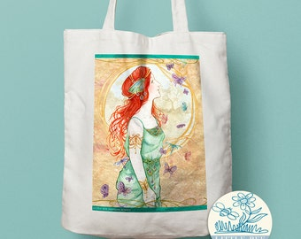 Pre-Raphaelite Lady in Green Tote Bag, illustrated Tote Bag, Shopping Bag, Cotton Tote, Long-handled tote bag