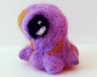 Needle Felted Miniature Octopus- Purple and yellow