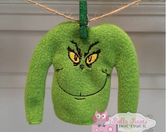 Mean One Sweater, Christmas sweater for Elf or Dolls, elf shirt, elf Clothes, elf Sweater, light Green Christmas sweater, Green Monster