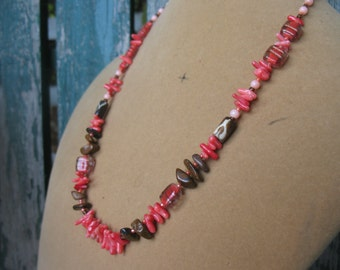 Dainty Coral and Tiger Eye Necklace