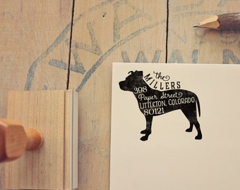 Pit Bull Address Stamp - Dog Return Address Stamp - Dog Lover Gift - Rubber Stamp - Personalized Pet Address Stamp
