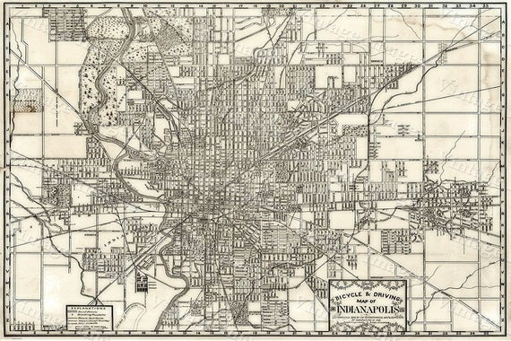 Indianapolis Bicycle Map Large 1899 Vintage Historic Indianapolis Map Restoration Hardware old Style wall Map Indiana Fine art Print Poster