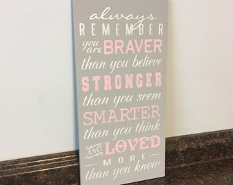 always remember you are braver than you believe Winnie the Pooh wood sign nursery wall decor baby girl nursery saying wall hanging nursery