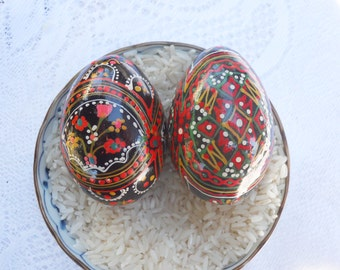 Vintage Set of 2 Russian Wood Eggs with Hand Painted Flowers