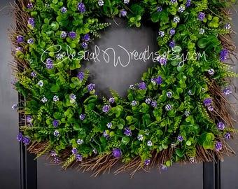 Spring wreath-summer wreath - monogram wreath - mothers day - wedding - housewarming