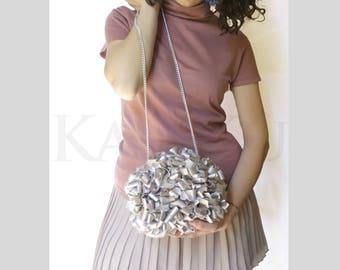 Mini Clutch, handbag CLAC Click Closure, Clicclach, handbag Clickl CLAC, clutch in faux leather, clutch silver, Frù Frù click Clac