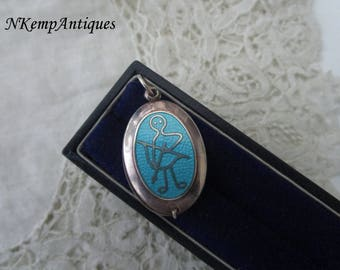 Silver enamel locket real silver