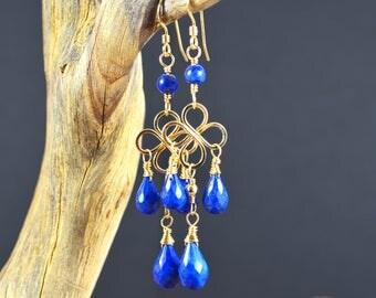 Lapis Lazuli chandelier earrings, 14k Gold Filled gemstone chandelier earrings, blue gemstone, ultramarine