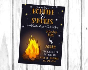 Bonfire Birthday Invitation, Bonfire Invitation, S'mores Invite, Summer Birthday, Fall Birthday, Campfire, Camping, Printable Invitation