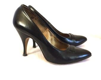 1950s Black Leather Stiletto Heels Silk Lined Sz 4/5