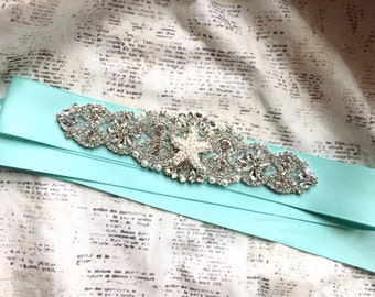 Beach Wedding, Beach Wedding Sash, Starfish Sash, Aqua Sash, Bridal Sash Aqua, Bridal Sash Beach, Aqua Wedding Sash, Beach Sash Belt