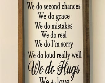 House rules sign, in this house, we do real, wood frame sign, farmhouse sign, farmhouse decor, gallery wall