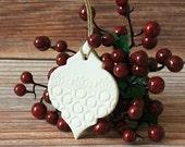 Porcelain Christmas Ornament - Arabesque Christmas Ornament - Handmade Pottery Ornament - Christmas Decor - Christmas Gift - Ready to Ship