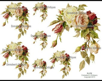 Vintage Victorian Old Fashion Roses Waterslide Decals~ FL172
