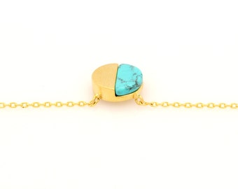 Delicate Brass Turquoise Half Circle Pendant Necklace
