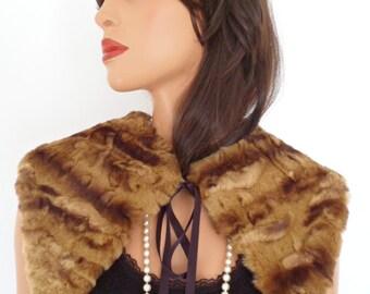 brown faux fur collar, shrug, wrap, golden brown,