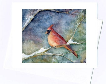 Cardinal Painting/ Card/ Print Original Watercolor Bird art