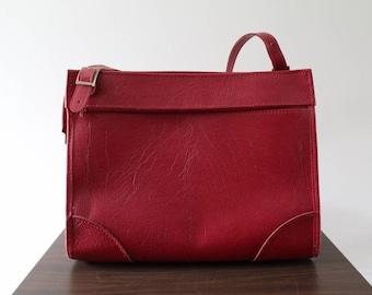Hartmann Luggage Red Leather Overnight Bag / Shoulder Bag