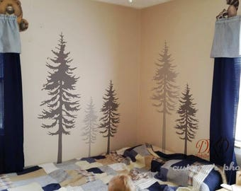 Pine tree wall decal, Pine tree decal, Tree wall decal-large set of 5 pine trees -DK045
