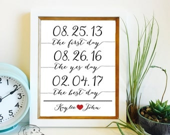 The First Day, The Yes Day, The Best Day | Important Dates Art Print | Wedding Gift | Paper Anniversary Gift | Frame not included