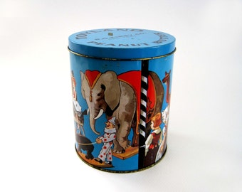 Vintage Toyland Tin Peanut Butter R G Kirby Co, New York, Blue Tin Box, Small Storage Container
