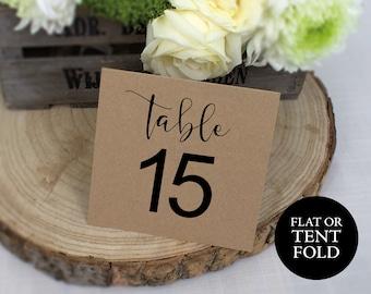 Rustic Table Number Template, Kraft Wedding Table Numbers, Table Number Template, Wedding Printable, DIY Table Numbers, Tented Table Numbers
