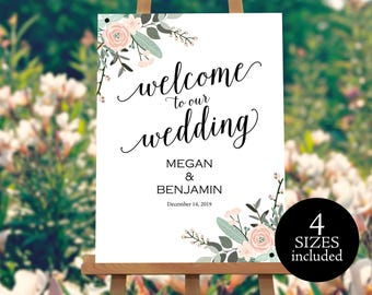 Welcome Wedding Sign, Wedding Welcome Template, Welcome Wedding Printable, Floral Wedding Sign, Template, PDF Instant Download, MM01-6