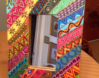"""Hand Painted Bohemian Slanted Quilt Design  Wall Mirror  8.5""""Wx11.5""""Hx1""""D M0030"""
