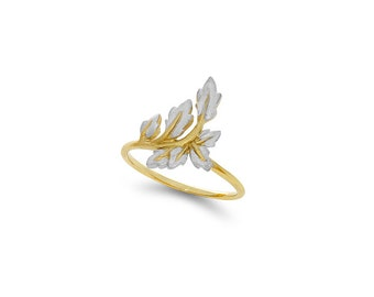 14k solid gold two tone leaf ring.