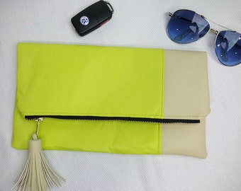 Neon & Neutral Faux Leather Clutch