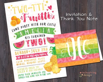 Two-tti Fruitti Birthday Party Invitation and/or Thank You Note DIGITAL FILE