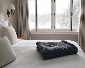giant hand knit natural wool throw blanket : the freedom throw / willow