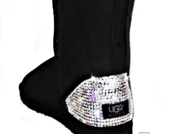 Classic Black UGG boots with hand placed Swarovski crystals