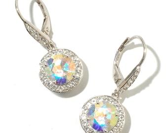 """Sterling Silver 5.7ctw Opal & White Topaz Dangle Earrings 1""""L"""