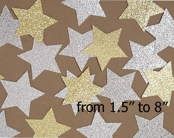 Gold or Silver GLITTER STAR die cuts/ Gold or Silver stars  /size 1.5inch -8inch/