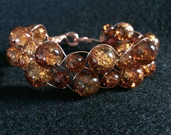 Brown and copper beaded womens bracelet
