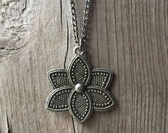 Gunmetal Lotus Pendant Necklace