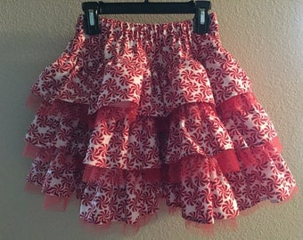 Pretty Christmas Peppermint Candy Ruffle Skirt