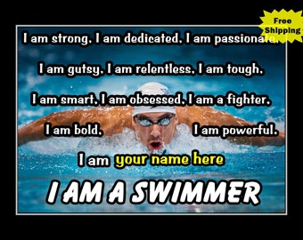 """Michael Phelps, Personalized Wall Art, Swimmer Wall Decor, Motivation Poster, SON Gift Decor, SON Gift, Swimming Art Print, 8x10"""", 11x14"""""""