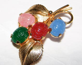 Vintage Scarab Beetle Pin with Colorful Glass Scarabs