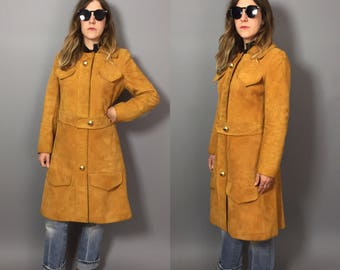 1960s Suede Trench / Suede Trench Coat / Mustard Leather Coat / Suede Coat Small / Suede Trench Small / Mustard Suede Coat Small / 1960s